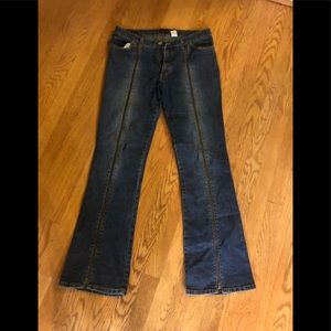 Unique jeans with long zipper in the front